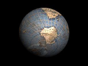 L'Antartide di Rosselli applicato su una sfera virtuale