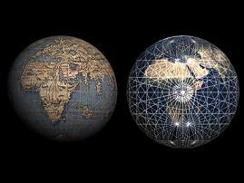 Applicazione mappa e schema lossodromico su sfera